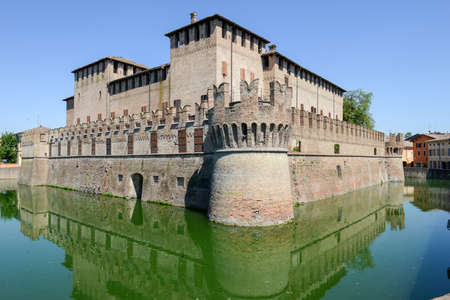 Fontanellato, Italy - 7 July 2017: The moated castle of Rocco Santivale at Fontanellato near Parma on Italy