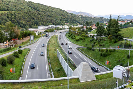 Lugano, Switzerland - 13 September 2017: rush hour queues beginning to form on the highway at Lugano on the italian part of Switzerland Editorial