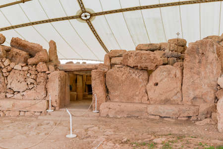 Hagar Qim - megalithic temple complex found on the island of Malta, included in UNESCO Heritage Site. Éditoriale