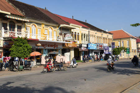 Battambang, Cambodia - 14 January 2018: Fench colonial houses at Battambang on Cambodia