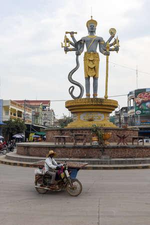 Battambang, Cambodia - 15 January 2018: street statue in Battambang City, Cambodia