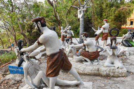 Battambang, Cambodia -15 January 2018: statues near the killing caves of Phnom Sampeau at Battambang on Cambodia
