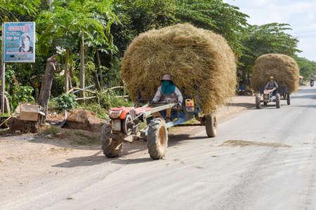 Battambang, Cambodia -14 January 2018: hay tractors at Battambang on Cambodia