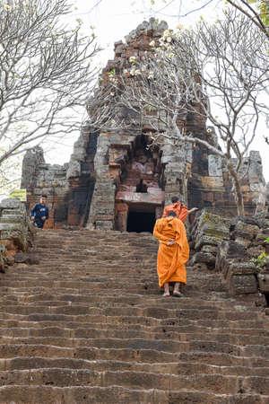 Battambang, Cambodia -14 January 2018: Phnom Banan temple at Battambang on Cambodia