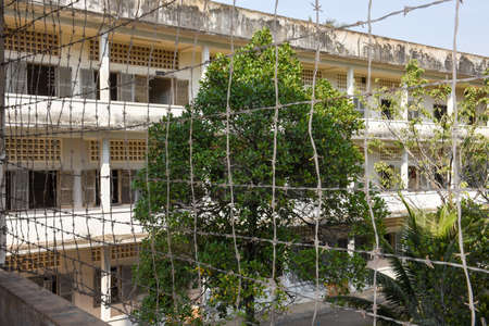 Phnom Penh, Cambodia - 17 January 2018: Prison of S21 the notorious torture prison by the khmer rouge at Phnom Penh on Cambodia