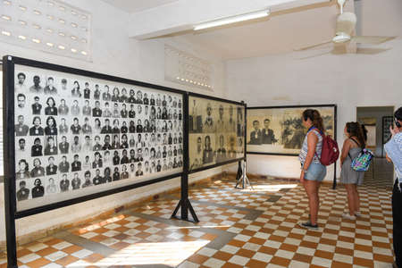 Phnom Penh, Cambodia - 17 January 2018: photographs of the people killed in S21 prison by the khmer rouge at Phnom Penh on Cambodia