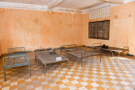Phnom Penh, Cambodia - 17 January 2018: Prison Cell of S21 the notorious torture prison by the khmer rouge at Phnom Penh on Cambodia