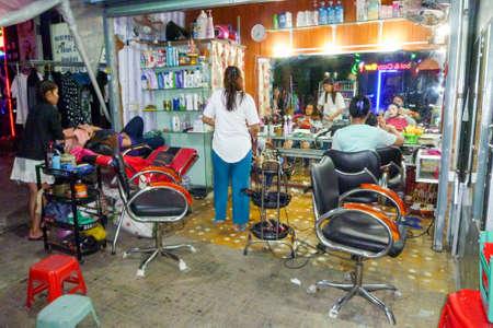 Phnom Penh, Cambodia - 16 January 2018: street hair salon at Phnom Penh on Cambodia
