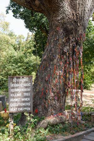The killing tree at the Killing Fields of Choeung Ek near Phnom Penh on Cambodia