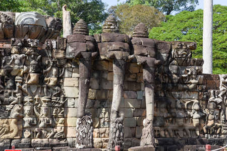 Terrace of the elephants at Angkor Thom on Siemreap in Cambodia