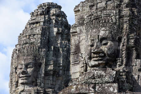 Faces of Bayon temple in Angkor Thom at Siemreap on Cambodia.