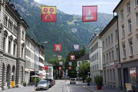 Glarus, Switzerland - 3 August 2017: the town of Glarus on the Swiss alps Editorial
