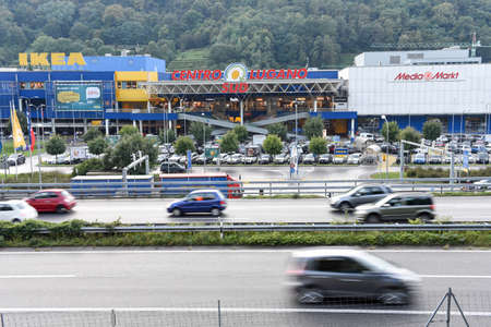 Lugano, Switzerland - 14 September 2017: Traffic jam in front of the shopping mall at Lugano on Switzerland