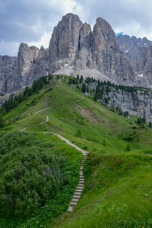 Beautiful summer mountain view of Sella group on Dolomites, Italy