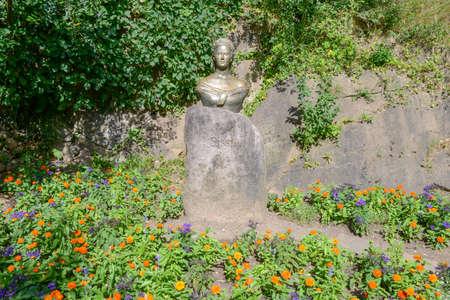 Sculpture of empress Elisabeth of Austria also known as Sissi at garden of Trauttmansdorff Castle at Meran on Italy