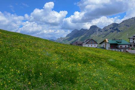 Dolomites at Pordoi Pass in Val di Fassa on Trentino Alto Adige, Italy