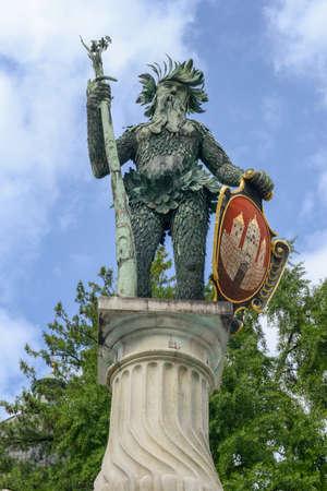 Wild man statue landmark of Salzburg on Austria
