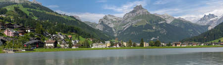 Lake of the village in Engelberg on the Swiss alps
