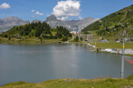 Mountain landscape of lake Truebsee over Engelberg on the Swiss alps Stock fotó
