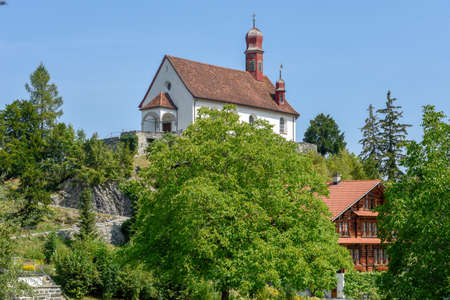 The village of Flüeli-Ranft birth and life place of saint hermit Niklaus von Flüe on the Swiss alps