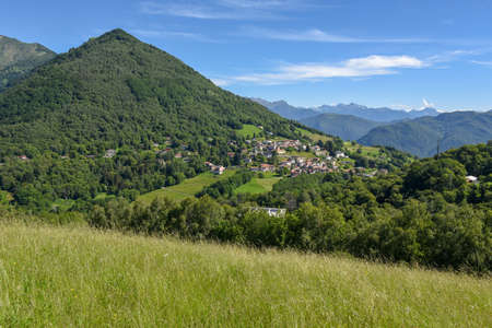 Landscape at the village of Arosio in Malcantone valley on the Swiss alps