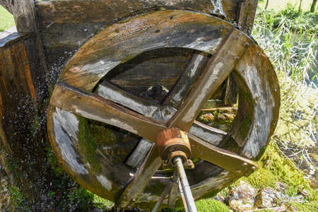 Antique wooden waterwheel at Engelberg on the Swiss alps