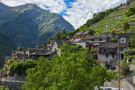 The village of Vogorno on Verzasca valley in the Swiss alps Stock Photo