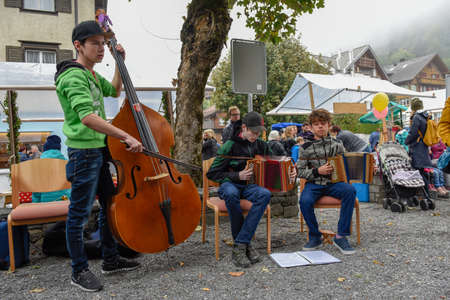 Engelberg, Switzerland - 29 September 2018: Traditional music group at Engelberg on the Swiss alps Editorial