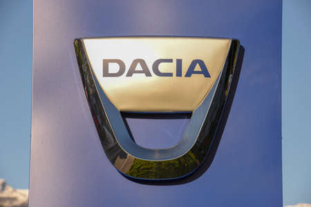 Lugano, Switzerland - 5 May 2017: Logo sign of Dacia car dealer at Lugano on Switzerland