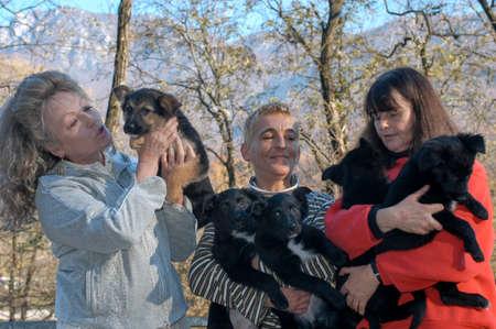 Lugano, Switzerland - 19 November 2002: woman with dogs at the animal shelter of Lugano on Switzerland