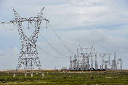 Power station and electric trellis on a field near Atins on Brazil Archivio Fotografico