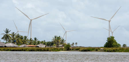 Windmills on the sand dunes of Lencois Maranhenses near Atins on Brazil