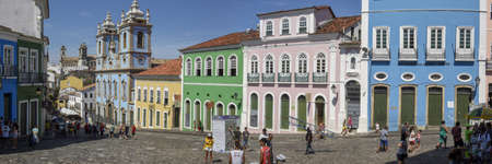 Salvador, Brazil - 3 February 2019: the historic district of Pelourinho in Salvador on Brazil