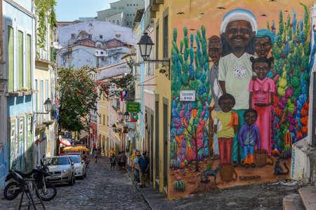 Salvador, Brasilien - 3. Februar 2019: das historische Viertel Pelourinho in Salvador auf Brasilien Editorial