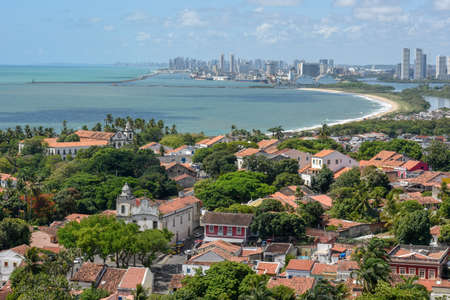 Old colonial town of Olinda with the city of Recife in the background on Brazil Banco de Imagens