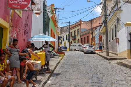 Olinda, Brazil - 27 January 2019: Colorful colonial houses at Olinda on Brazil