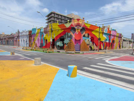 Colorful colonial houses of Fortaleza on Brazil
