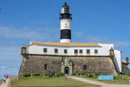 Salvador, Brazil - 2 february 2019: The historic Farol da Barra (Barra Lighthouse) in Salvador Bahia on Brazil