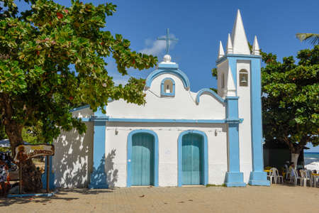 Colonial church of mainly square in the Praia do Forte beach on Brazil