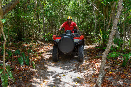 Praia do Forte, Brazil - 31 January 2019: people driving a quad on the forest near Praia do Forte in Brazil Editorial