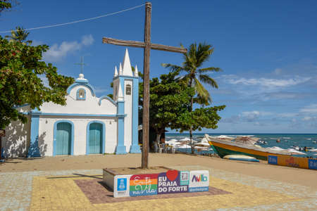 Praia do Forte, Brazil - 30 January 2019: Colonial church of mainly square in the Praia do Forte beach on Brazil 에디토리얼