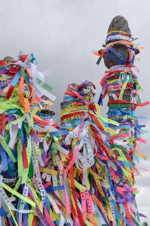Wish ribbons of Bonfim church in Salvador Bahia on Brazil Editorial