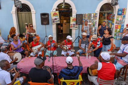 Salvador, Brazil - 3 february 2019: people playing samba at Salvador Bahia on Brazil