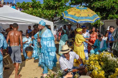 Salvador, Brazil - 2 February 2019: people during the celebration of Yemanja at Salvador Bahia on Brazil