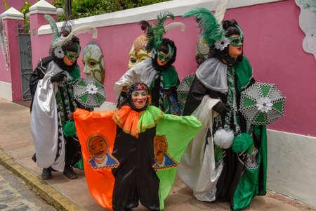 Colorful carnival masks of Olinda on Brazil