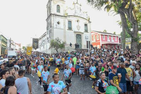 Olinda, Brazil - 27 January 2019: people parade in the streets during the carnival of Olinda on Brazil