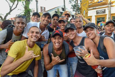 Olinda, Brazil - 27 January 2019: people in the streets during the carnival of Olinda on Brazil Editorial