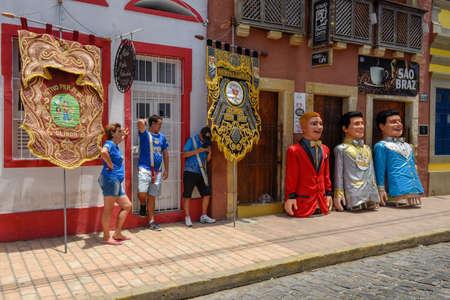 Olinda, Brazil - 27 January 2019: people and carnival puppets at Olinda on Brazil Editorial