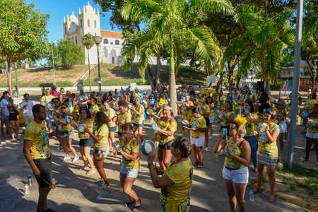 Olinda, Brazil - 27 January 2019: music group playing during the carnival of Olinda on Brazil
