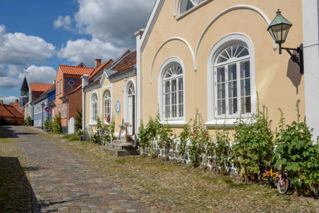 Ebeltoft, Denmark - 22 June 2019: the traditional historic village of Ebeltoft on Jutland in Denmark
